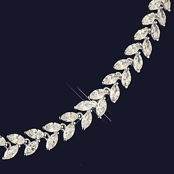 """The Leonie"" Rhodium Marquise CZ Leaf Design Set-Jewelry Sets-Wedding Factory-NE-1315-RD-CL-Sweet Heart Details"