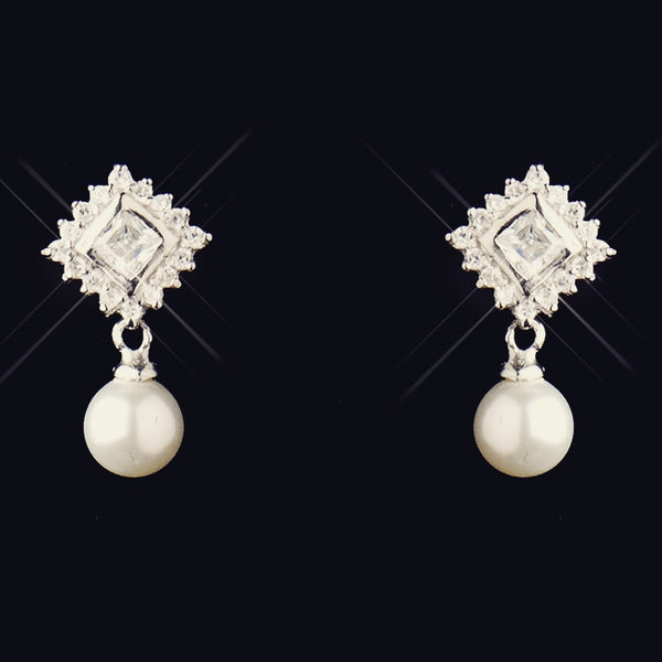 """The Leyna"" Solid 925 Sterling Silver CZ & White Pearl Drop Set"
