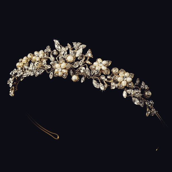 """The Lila"" Gold Floral Tiara-Tiaras & Headbands-Wedding Factory-HP-7457-S-RP-Sweet Heart Details"