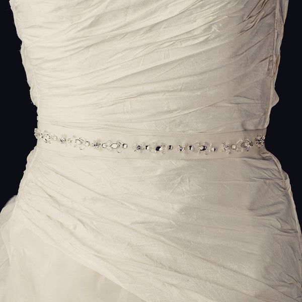 """The Lilah"" Single Row Crystal & Rhinestone Belt-Sashes & Belts-Wedding Factory-Sweet Heart Details"