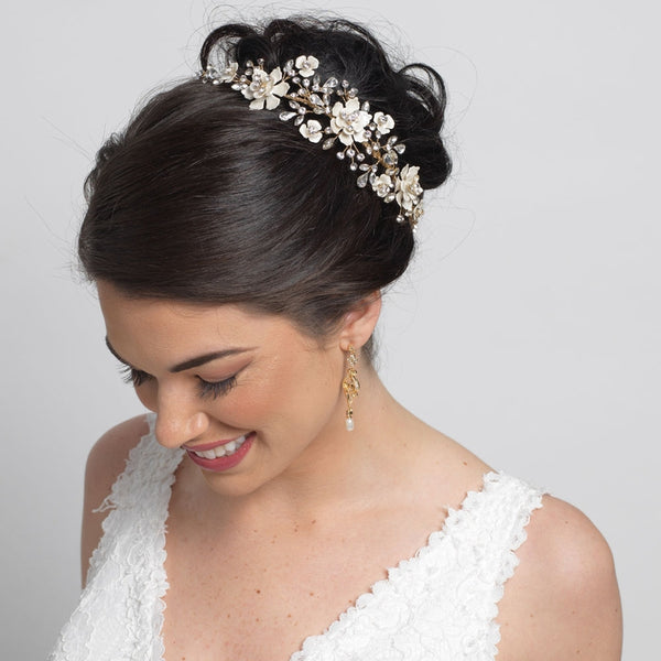 """The Lilian"" Gold & Ivory Enamel Floral Accent Headband-Tiaras & Headbands-Wedding Factory-HP-5069-G-IV-Sweet Heart Details"