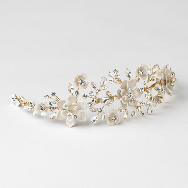 """The Lilian"" Gold & Ivory Enamel Floral Accent Headband - Sweet Heart Details"