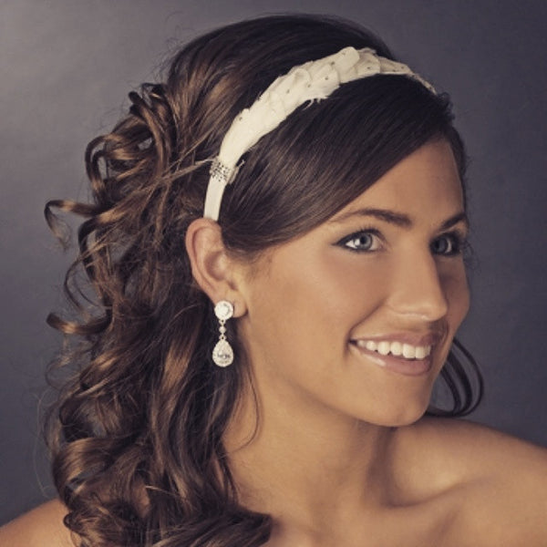 """The Lilian"" Feather & Rhinestone Bridal Headband"