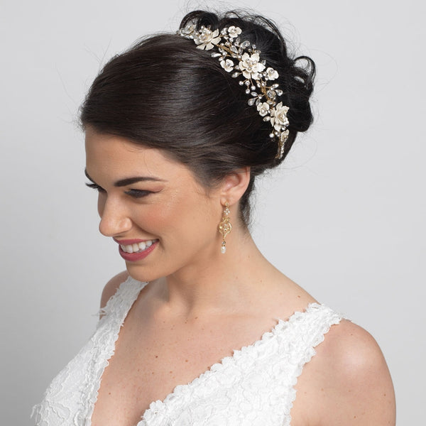 """The Lilian"" Gold & Ivory Enamel Floral Accent Headband"
