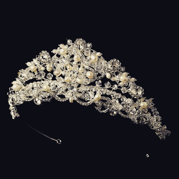 """The Liliana"" Swarovski Pearl Tiara (Silver/Gold)"