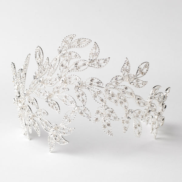 """The Lilianna"" Vintage Rhinestone Leaf Bridal Headpiece (Gold/Silver/Rose Gold)-Tiaras & Headbands-Wedding Factory-HP-1589-S-CL-Sweet Heart Details"
