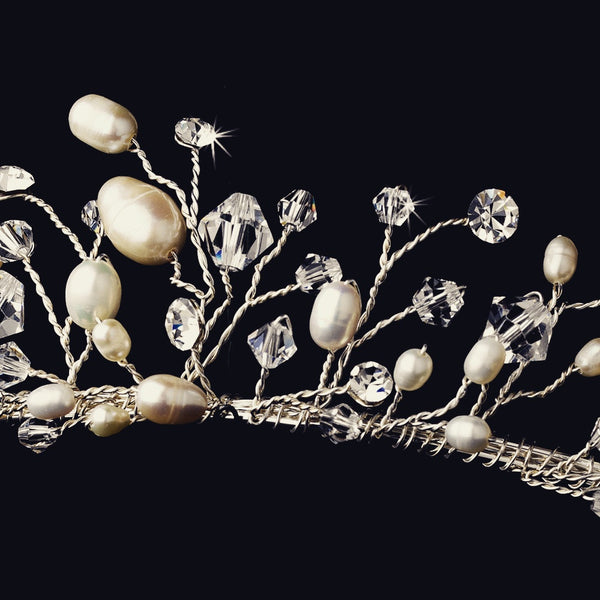 """The Lily"" Swarovski & Freshwater Pearl Tiara-Tiaras & Headbands-Wedding Factory-HP-9784-S-FW-Sweet Heart Details"