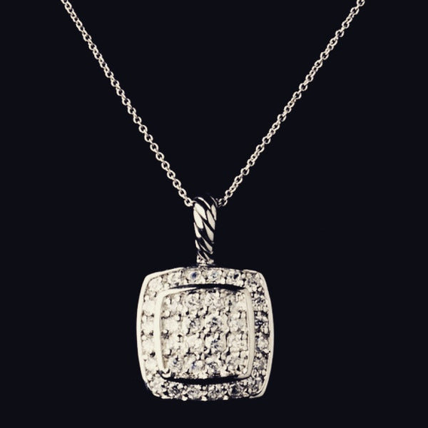 """The Linda"" Solid 925 Sterling Silver Square Paved CZ Necklace"