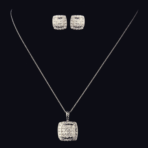 """The Linda"" Solid 925 Sterling Silver Square Paved CZ Set"