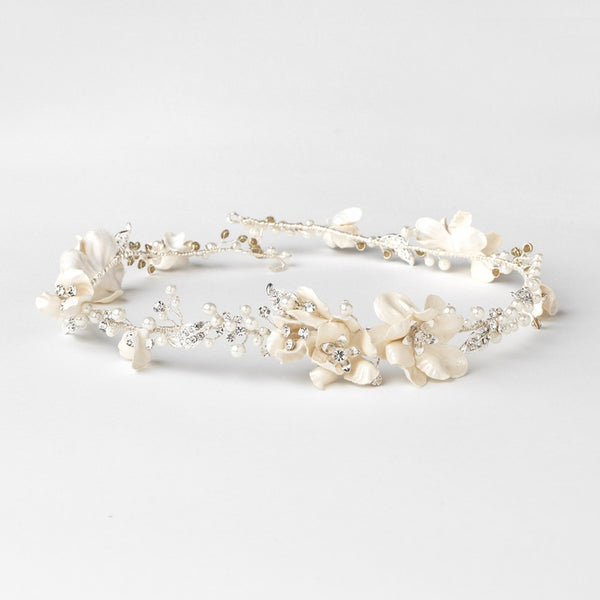"""The Livinia"" Rhinestone & Ivory Pearl Floral Headband-Tiaras & Headbands-Wedding Factory-HP-10002-S-IV-Sweet Heart Details"