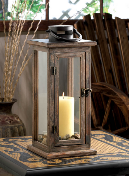 Perfect Lodge Wooden Lantern-Lanterns, Candles-Sweet Heart Details