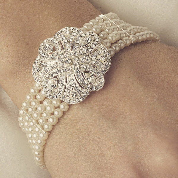 """The Lola"" Classic Silver Crystal & Pearl Bracelet - Sweet Heart Details"