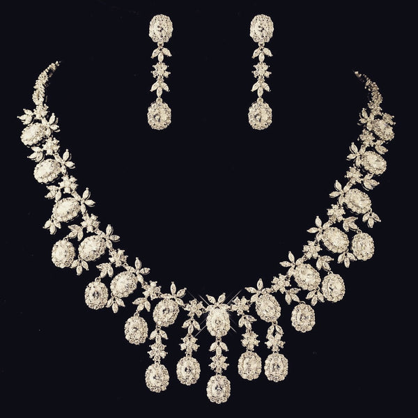 """The London"" Multi Cut CZ Crystal Oval Drop Set - Sweet Heart Details"