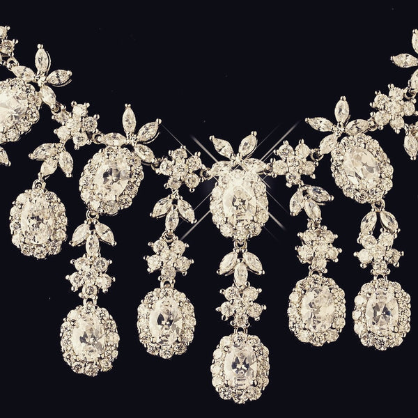 """The London"" Multi Cut CZ Crystal Oval Drop Set-Jewelry Sets-Wedding Factory-NE-13046-RD-CL-Sweet Heart Details"
