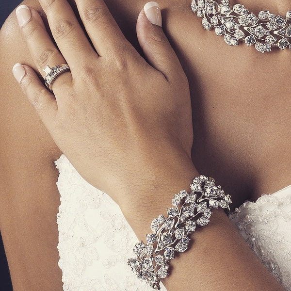 """The Lorri"" Leaf Design Silver & Crystal Bracelet-Bracelets-Wedding Factory-B-930-AS-CL-Sweet Heart Details"