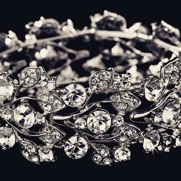 """The Lorri"" Leaf Design Silver & Crystal Bracelet"