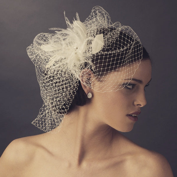 """The Louise"" Rhinestone Netted Couture Fascinator & Birdcage Veil-Veils-Wedding Factory-Sweet Heart Details"