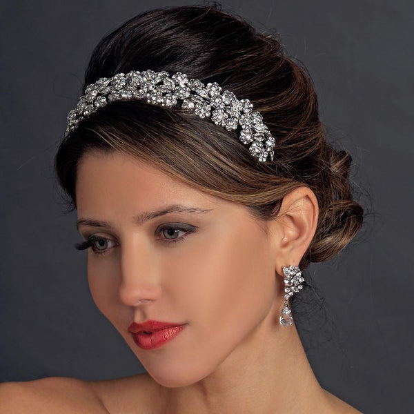 """The Doreen"" Silver Floral Rhinestone Headband - Sweet Heart Details"