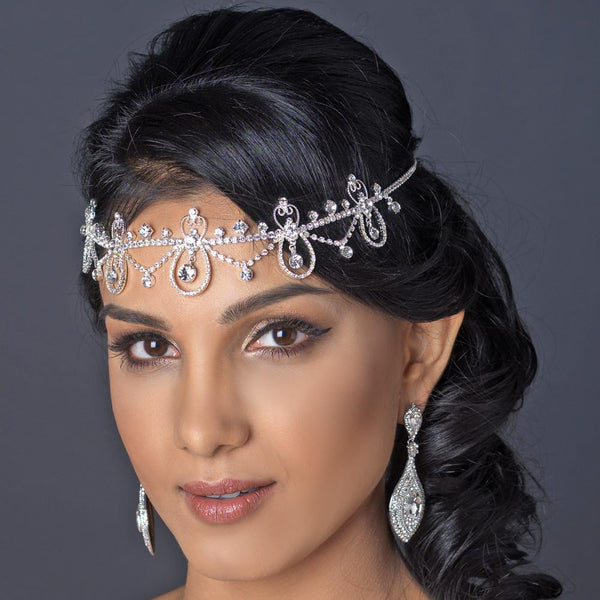 """The Keela"" Scalloped Rhinestone Drop Headpiece Necklace"