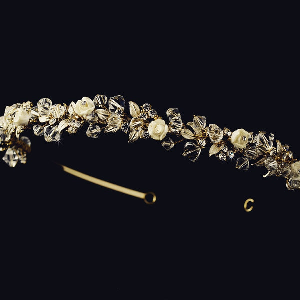 """The Marbella"" Austrian Crystal Floral Headband"
