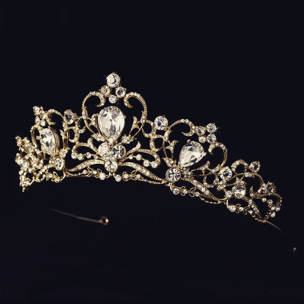 """The Marcella"" Royal Gold Plated Tiara-Tiaras & Headbands-Wedding Factory-HP-8270-G-CL-Sweet Heart Details"