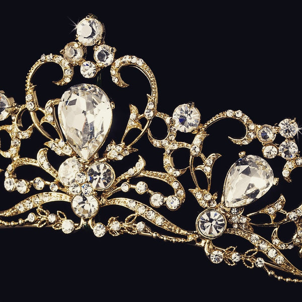 """The Marcella"" Royal Gold Plated Tiara - Sweet Heart Details"