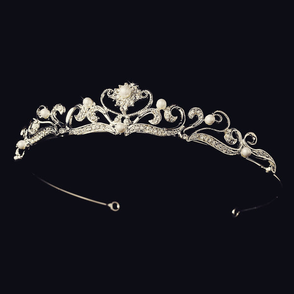 """The Margaret"" Elegant Silver Plated Tiara-Tiaras & Headbands-Wedding Factory-HP-102-S-WH-Sweet Heart Details"