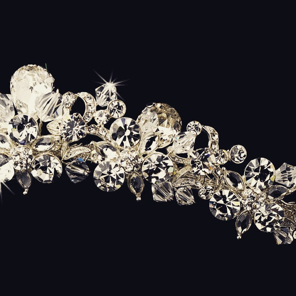 """The Maria"" Silver & Sparkling Crystal Headband-Tiaras & Headbands-Wedding Factory-HP-9840-S-CL-Sweet Heart Details"