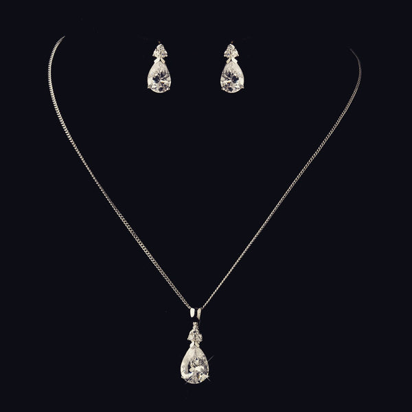 """The Marla"" Silver Clear Teardrop Bridesmaid Pendant Sets (4)"