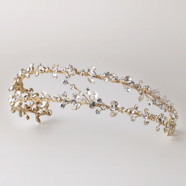 """The Martha"" Double Vine Crystal Headband-Tiaras & Headbands-Wedding Factory-HP-4880-LG-CL-Sweet Heart Details"