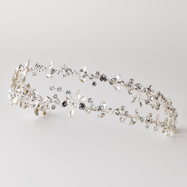"""The Martha"" Double Vine Crystal Headband-Tiaras & Headbands-Wedding Factory-HP-4880-S-CL-Sweet Heart Details"