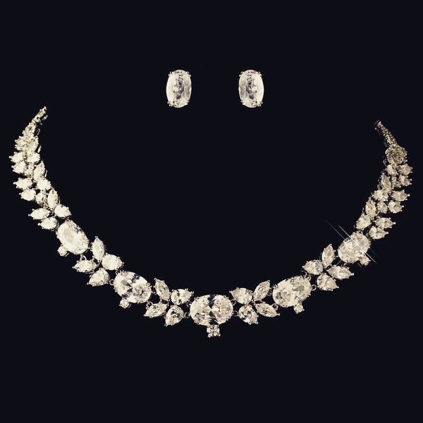 """The McKenna"" Oval & Marquise Cut Crystal Leaf Set-Jewelry Sets-Wedding Factory-NE-13043-RD-CL-Sweet Heart Details"