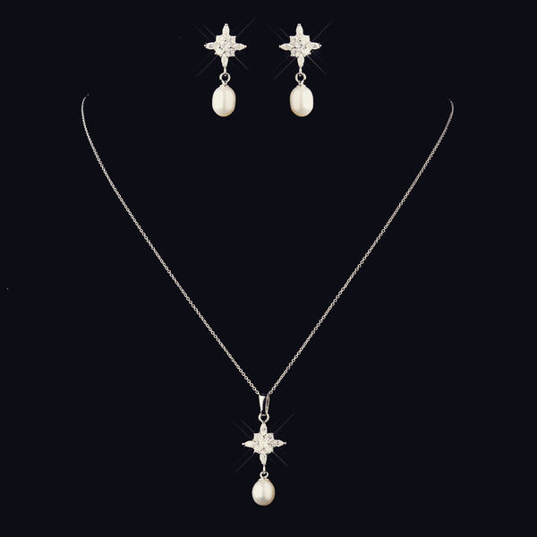 """The Melina"" Solid 925 Sterling Silver CZ & Pearl ""Sparkle"" Set"