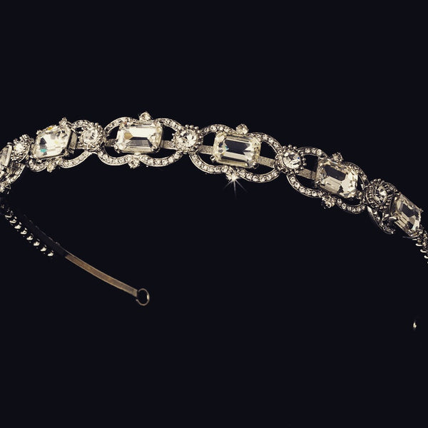 """The Melissa"" Vintage Silver Rhinestone Headband-Tiaras & Headbands-Wedding Factory-HP-8333-AS-CL-Sweet Heart Details"