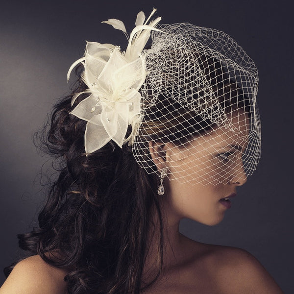 """The Michelle"" Flower Feather and Pearl Fascinator-Veils-Wedding Factory-Sweet Heart Details"