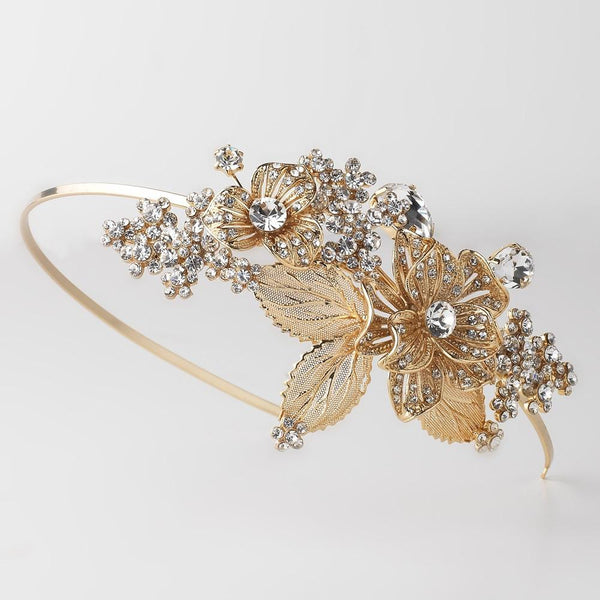 """The Milana"" Gold Leaf Side Accent Bridal Headband"