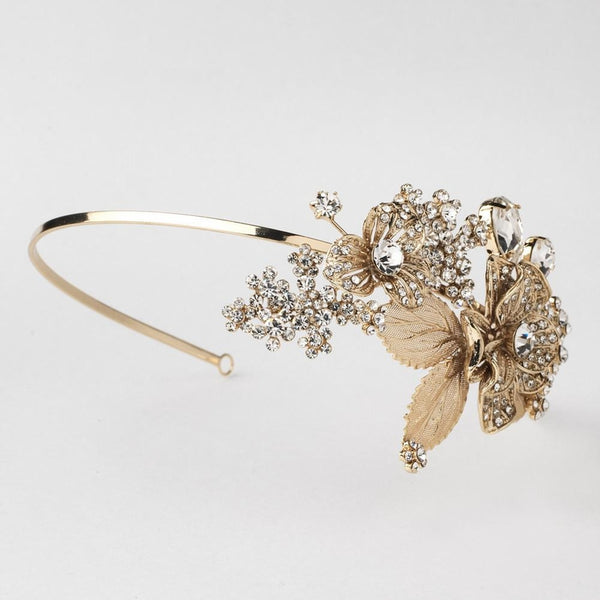 """The Milana"" Gold Leaf Side Accent Headband-Tiaras & Headbands-Wedding Factory-HP-1565-LG-CL-Sweet Heart Details"