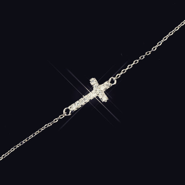 """The  Mylee"" Delicate CZ Cross Design Bracelet"