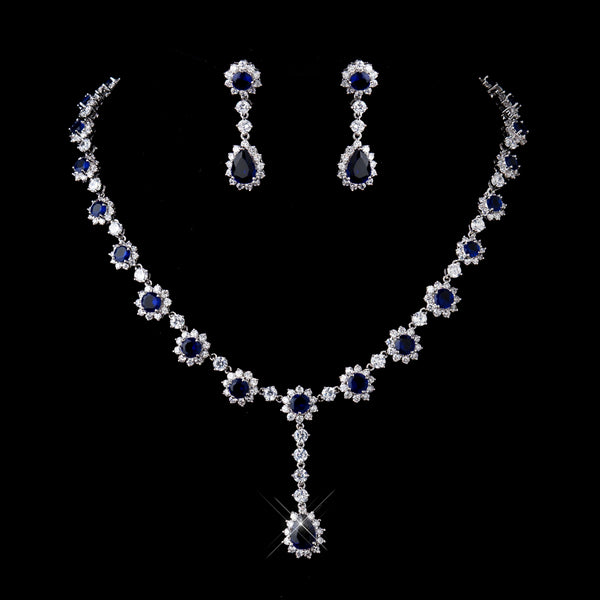 """The Safire"" Silver and Sapphire Necklace & Earrings Jewelry Set - Sweet Heart Details"