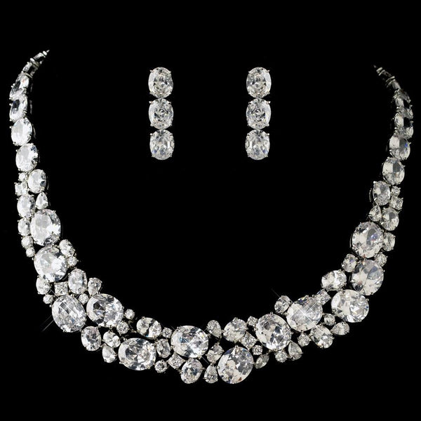 """The Vivian"" Elegant Oval & Round Cut Crystal Set-Jewelry Sets-Wedding Factory-NE-13044-RD-CL-Sweet Heart Details"