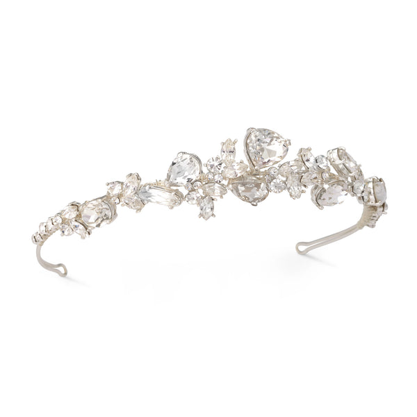 """The Neena"" Modern Swarovski Crystal Headband (Silver/Gold)"