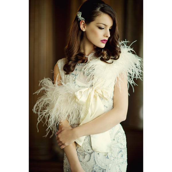 Ostrich Feather Stole-Wraps, Capes, Capelets, Stoles-3323-Sweet Heart Details
