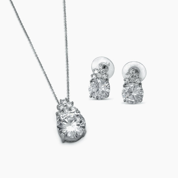 """The Parker"" Silver Clear Teardrop Pendant Set"