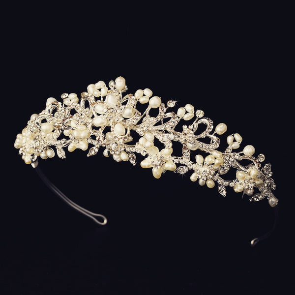 """The Piper"" Silver/Gold Pearl Floral Tiara-Tiaras & Headbands-Wedding Factory-Sweet Heart Details"