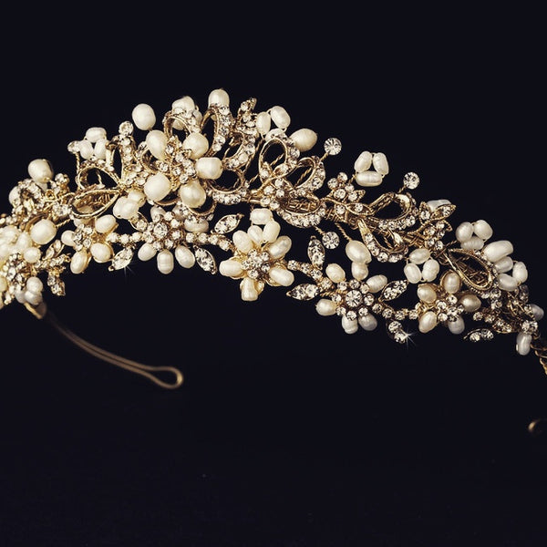 """The Piper"" Silver/Gold Pearl Floral Tiara - Sweet Heart Details"