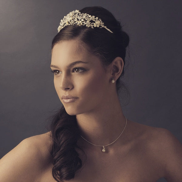 """The Piper"" Silver/Gold Pearl Floral Bridal Tiara"