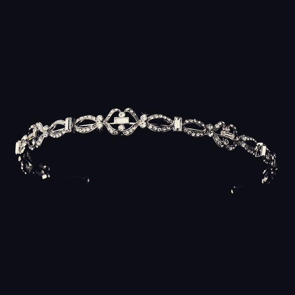"""The Polly"" Antique Silver Rhinestone Headband-Tiaras & Headbands-Wedding Factory-HP-9827-RD-CL-Sweet Heart Details"