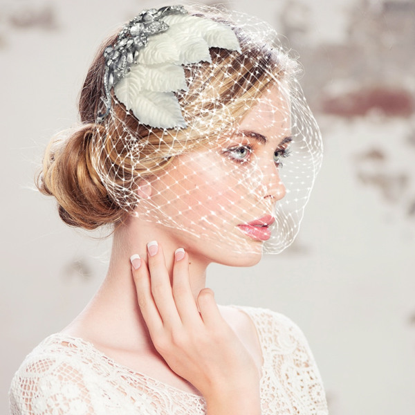 Regal Luxe Bird Cage Veil-HP151 1641-Sweet Heart Details