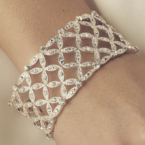 """The Rosamond"" Silver Stretch Crystal Bracelet-Bracelets-Wedding Factory-B-10493-S-CL-Sweet Heart Details"