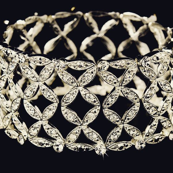 """The Rosamond"" Silver Stretch Crystal Bracelet - Sweet Heart Details"